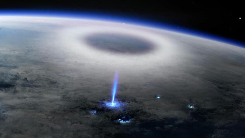 A Estação Espacial Internacional avistou um tipo exótico de raio de cabeça para baixo chamado jato azul (ilustrado) zunindo de uma nuvem de raios para a estratosfera em 2019. Crédito: DTU SPACE, DANIEL SCHMELLING/MOUNT VISUAL